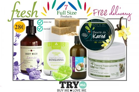 SOLD OUT !Organic Beauty Box  Fresh Try Me Kit - Ανανέωση & Φρεσκάδα σε Πρόσωπο, Σώμα & Μαλλιά!