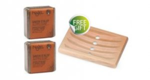 Najel - 2 pcs x Aleppo Scrub Soap with Red Clay & FREE GIFT Wooden Soap Dish