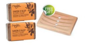 Najel 2+1 SPECIAL OFFER - 2 pcs x Aleppo Soap with Rhassoul & Argan Oil & FREE GIFT Wooden Soap Dish